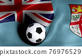 3D rendering of the flag of Fiji with a soccer ball 76976529