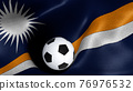 3D rendering of the flag of Marshall Islands with a soccer ball 76976532