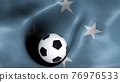 3D rendering of the flag of Micronesia with a soccer ball 76976533