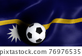 3D rendering of the flag of Nauru with a soccer ball 76976535