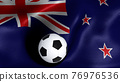 3D rendering of the flag of New Zealand with a soccer ball 76976536