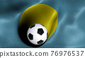 3D rendering of the flag of Palau with a soccer ball 76976537