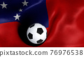 3D rendering of the flag of Samoa with a soccer ball 76976538