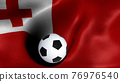 3D rendering of the flag of Tonga with a soccer ball 76976540