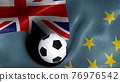 3D rendering of the flag of Tuvalu with a soccer ball 76976542