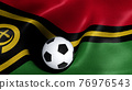 3D rendering of the flag of Vanuatu with a soccer ball 76976543