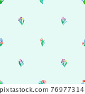 Seamless pattern with flowers, plant vector background. 76977314