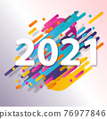 Happy New 2021 Year. Holiday vector illustration of golden metallic numbers 2021. Realistic gold vector sign. Festive poster or banner design 76977846