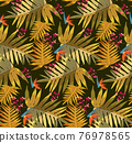 Tropical Rain forest leaf color seamless pattern. Hawaii wallpaper or textile fabric print vector background. 76978565