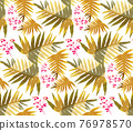 Tropical Rain forest leaf color seamless pattern. Hawaii wallpaper or textile fabric print vector background. 76978570