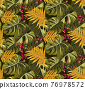 Tropical Rain forest leaf color seamless pattern. Hawaii wallpaper or textile fabric print vector background. 76978572