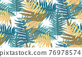 Tropical Rain forest leaf color seamless pattern. Hawaii wallpaper or textile fabric print vector background. 76978574