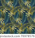 Tropical Rain forest leaf color seamless pattern. Hawaii wallpaper or textile fabric print vector background. 76978576