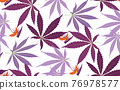 Tropical Rain forest leaf color seamless pattern. Hawaii wallpaper or textile fabric print vector background. 76978577