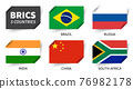 BRICS . Association of 5 countries . Inserted paper flag design . Vector . 76982178