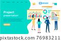 Successful business project presentation, company strategy planning, statistics indicators analysis 76983211