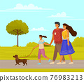 Happy family parents and daughter walking together with small dog along walkway sunny day in park 76983213