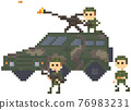 Soldiers in uniform near combat camouflage transport for pixel game design vector illustration 76983231
