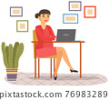 Office employee doing task remotely with computer. Female freelancer working at home with laptop 76983289