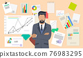 Successful business project presentation, company strategy planning, statistics indicators analysis 76983295
