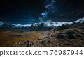himalaya mountain with star in night time 76987944