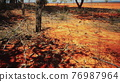 Pampas with barbed wire fence and dry bushes 76987964
