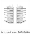 Shelving rack for store trading empty template for design stock vector illustration isolated on white background 76988640