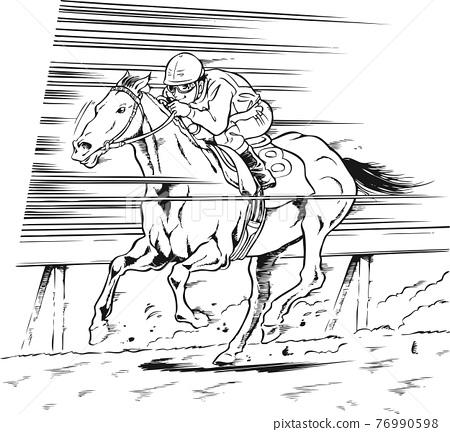말, 경마, 달리다 76990598