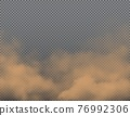 Brown dust, sand or dirt clouds, realistic vector 76992306