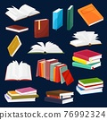 Book and textbook piles or stacks cartoon set 76992324