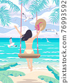 Young Woman Swinging on Swing on Tropical Beach 76993592