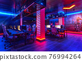 Inside of modern internet cybercafe, no people 76994264