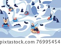 Vector winter landscape with people on tubing donuts happy riding from hills among trees. Various characters in warm clothes 76995454