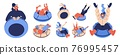 Vector characters set with people and pet riding snow tubing donuts. Happy characters with raised hands smiling and happy while racing 76995457