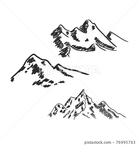 Mountain pines trees sky landscapes hand drawn vector illustrations 76995783