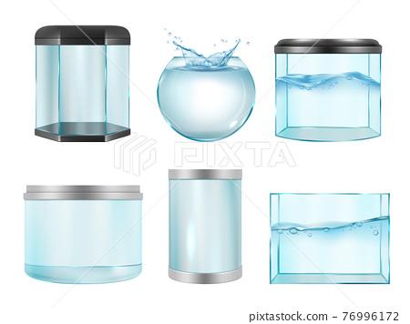 Aquarium for fish. Empty transparent realistic cases for underwater life containers different geometrical forms decent vector aquarium pictures 76996172