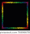 Vegetables and fruits frame, square format, rainbow colored stripes. Isolated vector illustration on black background. 76996678