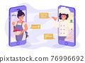 Online culinary master class - a young woman cooks and asks the cook on the phone in an online cooking workshop chat while streaming using the phone. vector illustration. 76996692