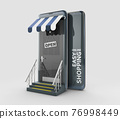 3d Rendering of Modern smart mobile phone with on line shopping store, clipping path included 76998449