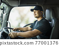 Truck driver is driving a transport vehicle. 77001376