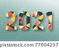 Abstract polygonal numbers for New Year 2021 with texture. Modern futuristic template for 2021 isolated on technology background. Vector illustration. 77004237