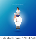 The women woriking on the lightbulb. Creative thinking  and idea concept. Vector illustration. 77004240