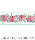 Peonies seamless floral border. Oriental style vintage flowers 77006223