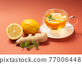 Ginger tea with mint and lemon. Healthy drink. Crystal cup on bright background. Selective focus. 77006448