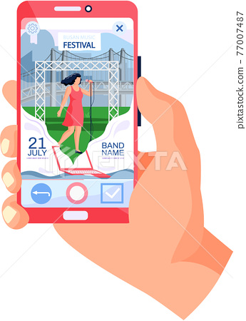 Open air concert in outdoor summer music festival in South Korean city Busan on smartphone screen 77007487