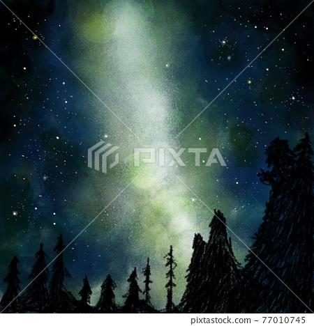 一群星星漂浮在夜空中 77010745