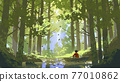 A boy's journey in the big forest 77010862