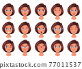 Woman face expression vector design illustration isolated on white background 77011537
