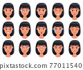 Woman face expression vector design illustration isolated on white background 77011540