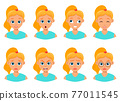 Woman face expression vector design illustration isolated on white background 77011545